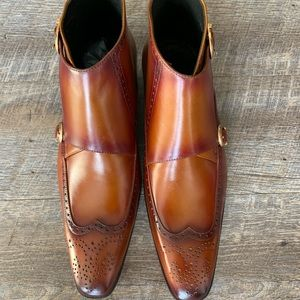Brand new handmade double monk Wingtip boots